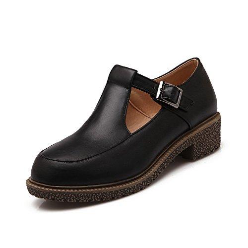Allhqfashion Damesgesp Ronde Dichte Neus Lage Hakken Pu Stevige Pumps-schoenen Zwart