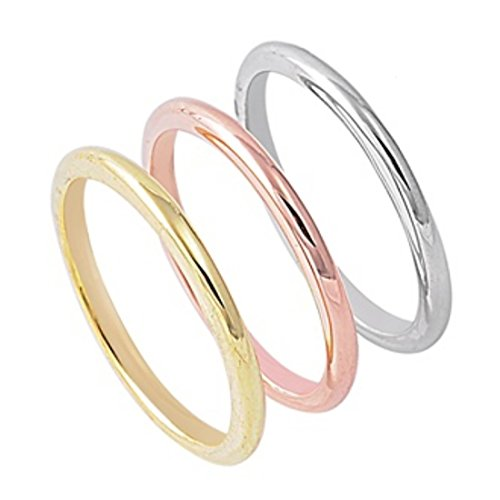 (Blue Apple Co. 2mm Trinity Three Tone Tri Color Wedding Promise Band Yellow,Rose,Pink Tone 925 Sterling Silver)