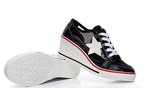 43 Wealsex Compensée 42 Noir Mesh Cuir 41 40 Été Femme Pu Casuel Baskets Taille Respirante Montante Printemps Chaussures Lacets aqEfwarnZ