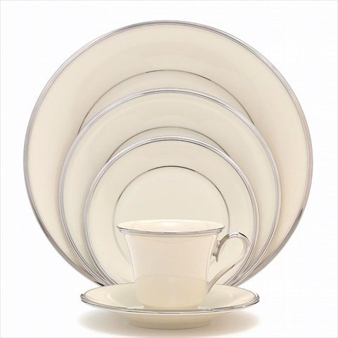 - Lenox USA Fine Porcelain China SOLITAIRE 5pc Place Setting Platinum Trim