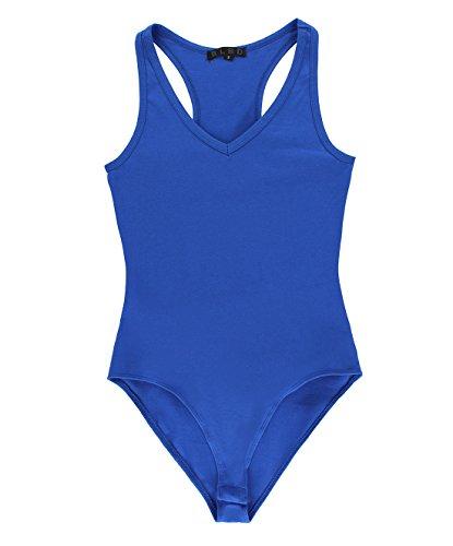 -Neck Tank Top Bodysuit Royal Blue Large ()