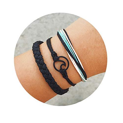CHOA 3 Pcs Summer Surfer Wave Bracelet Adjustable Friendship Bracelet Handcrafted Jewelry Women (Black)