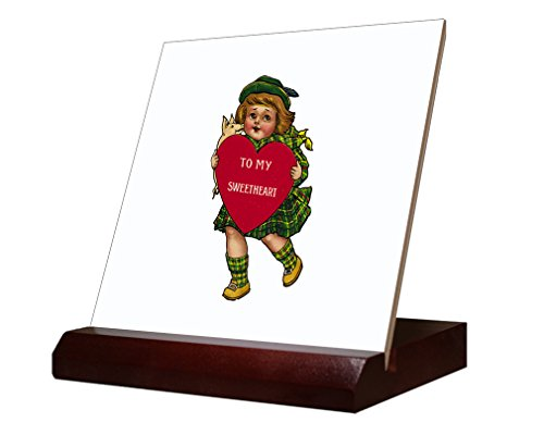 Ceramic Tile Hearth (Girl Holding Hearth And A Pig Valentees Day Ceramic Tile with Wood Stand 4 inch tile)