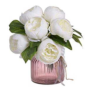 FILOL Artificial Peony Flower Leaf Floral Bridal Wedding Bouquet Home Wedding Decor Fake Flowers Party Decor Real Touch Flower (White) 106