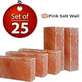 Himalayan Salt Block Set of 25 Salt Bricks Size 8''x4''x2'' Pink Salt Tiles, Crystal Rock Salt Slab Used In Foot Detox