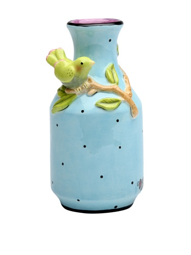 ATD SS-ATD-61548 Blue Vase With Black Polka Dots Green Bird & Tree Branch, 5.38