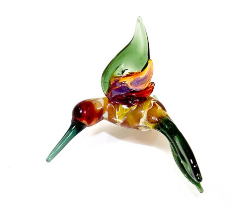 Hummingbird Lampwork Glass Ornament - Emerald Earth Tones