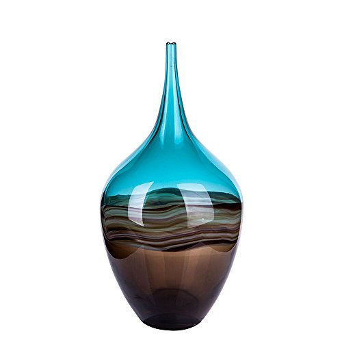 Baallerina Hand Blown Glass Vase Blue and Brown Waves Flower Bottle ( Home,Wedding Decoration Gift, 13.39