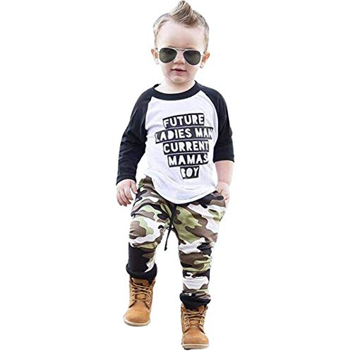 2PCS Baby Boys Clothes Letter T-Shirt Long Sleeve Tops+Camouflage Pants Outfit Set (Green, 2-3 Years)