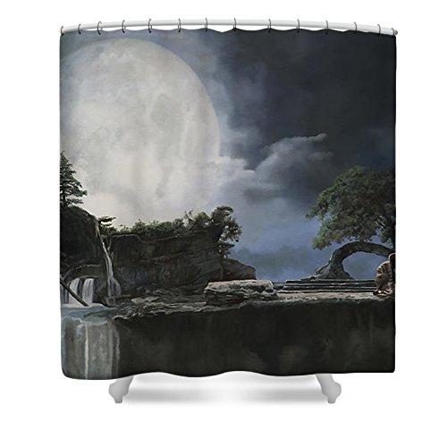 Pixels Shower Curtain (74'' x 71'') ''La Luna Bianca'' by Pixels (Image #1)