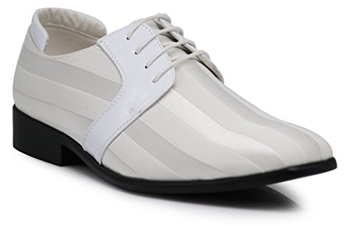 JY5N Men's Satin Metal Silver Tip Oxfords Tuxedo Dress Shoes Stripes Church Wedding Party Groomsmen Oxfords Dress Shoes (8.5 D(M) US, White) by Enzo Romeo