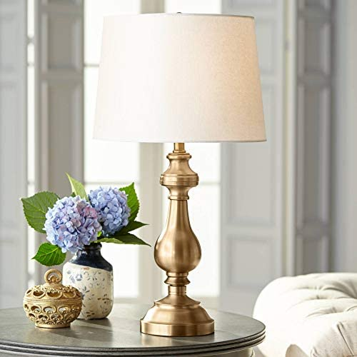 Traditional Table Lamp Antique Brass Candlestick White Fabric Drum Shade