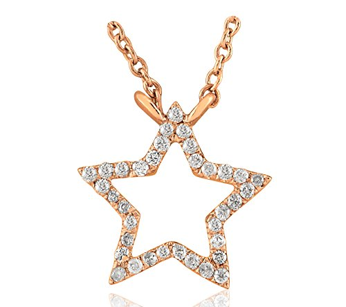 Libertini Colliar argent 925 plaque or Rose serti de Diamant en forme de Étoile
