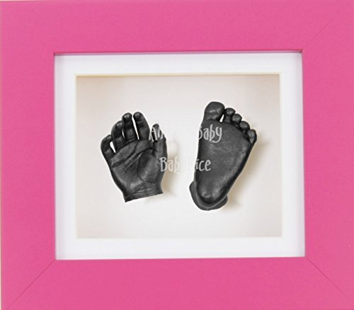 BabyRice 3D Baby Boy Casting Kit Pink Frame Pewter Foot Casts by BabyRice