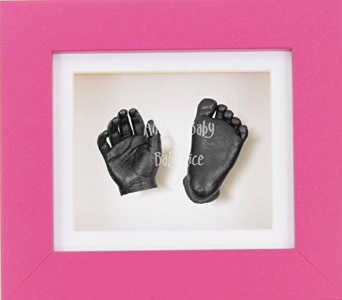 BabyRice 3D Baby Boy Casting Kit Pink Frame Pewter Foot Casts by BabyRice