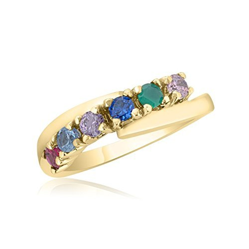 10K Yellow Gold Mother's Day Ring – 6 Birthstone Family Ring