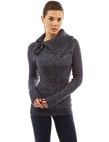 PattyBoutik Women's Asymmetric Neck Raglan Marled Sweater (Heather Navy Blue M)