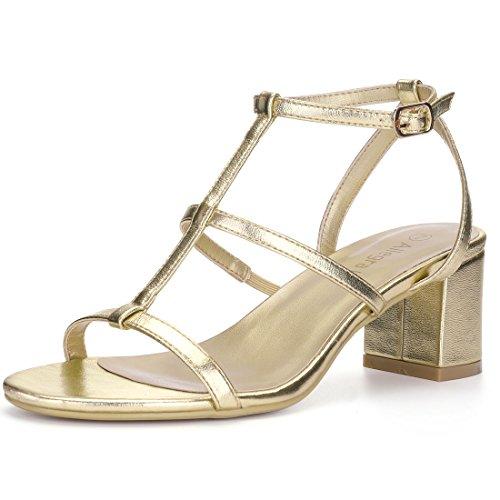 Allegra K Women's T-Strap Block Heel Sandals Gold Tone z2WYG