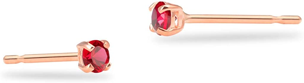 SOLIDGOLD - Real 14K Gold Round Simulated Ruby CZ Stud Earrings   0.030-4.00 CTW   Yellow, Rose & White Gold