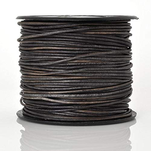 Leather Cord-3mm Round-Soft-Natural Grey-50 Meter Spool