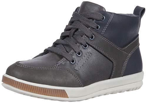 (Deer Stags Boys' Landry Memory Foam Dress Casual Comfort High Top Sneaker Boot, Grey/Navy 7 Medium US Big Kid)