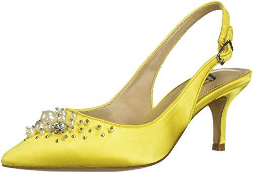 (The Fix Women's Felicia Slingback Kitten Heel Pump with Pearls, sunshine satin, 7.5 B US )