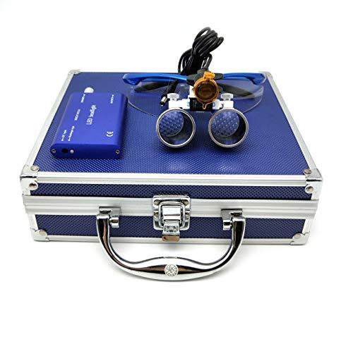 Global Dental 3W LED Clip-on Headlight with Filter 3.5x420mm Medical Binocular Loupes Blue Aluminum Box