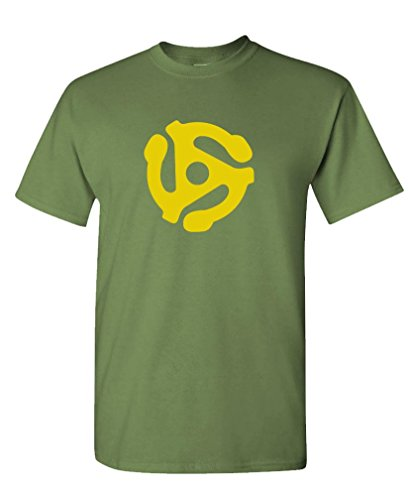 DJ 45 RPM ADAPTER - spider record dj music Tee Shirt T-Shirt, XL, Army (Old Dudes Rule T Shirt)
