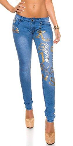 Blanco Stampa Donna Chiaro Jeans Elasticizzato Pantalone Store Denim Jeans Oro Argento rCFW6rwqtx