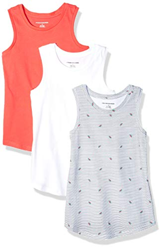 Amazon Essentials Big Girls' 3-Pack Tank Top, Watermelon/Pink/White, Large -
