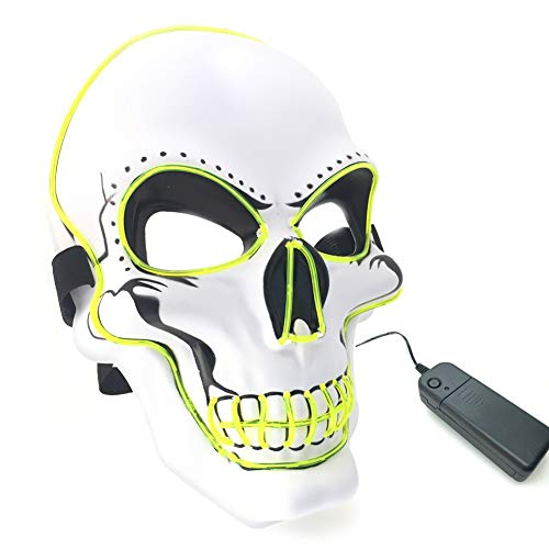 Led Light Up Scary Skull Mask,Neon Glow in Dark Halloween Party Masks