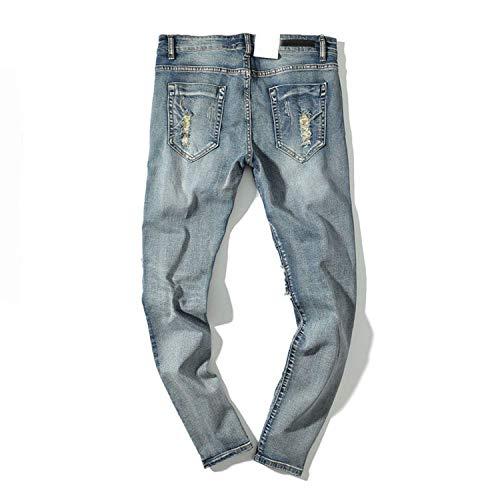 Casual Strappato Strappati Jeans Denim Vintage Skyblue Fit Dritto Uomo Fori Slim Buco Distrutti xqgpIB