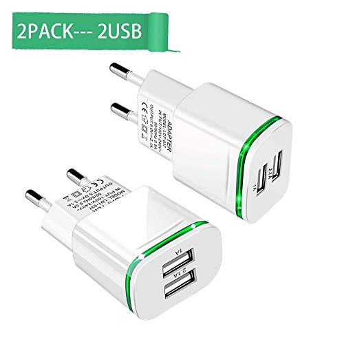 European Plug Adapter,Capkit Universal 2-Pack Dual Port LED Europe USB Charger Plug Travel Power Adapter for iPhone X 8/7/6/6S Plus 5S,iPad,Samsung Galaxy S8 S9 S10 Plus S7/S6 Edge, HTC, LG -