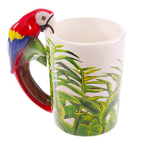 Hand Painted Ceramics - Coffee Mug, Hand Painted Art Ceramic Mug Cup, 3D Handmade Creative Animal Parrot Handle Water Milk Tea Beer Wine Mugs, Best Gift for Family, Friends, Kids(14oz)