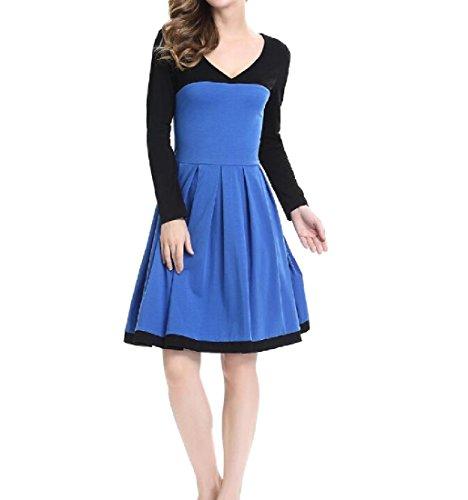Coutures Confortables V-cou Féminin Ajustement Confortable Mince Robe De Cocktail Crayon Bleu