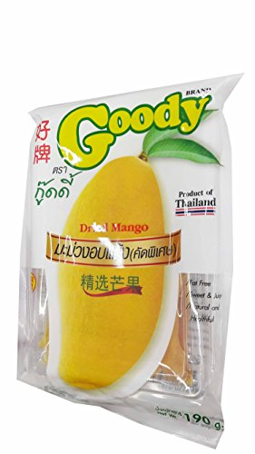 2 Packs of Dried Mango, Made From Real Mango, Delicious Fruit Snack From Goody Brand. Fat free, Sweet & Juicy, Natural and Healthful. (190 g/ pack).. by Goody