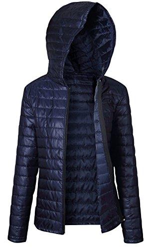 a Maniche Lunghe Felpe con cappuccio Incappucciato Hoodie cerniera Zipper davanti Zip Up Caldo imbottito in trapuntato Puffer Jacket Giacca Giubbotto Coat Cappotto Top Blu Scuro