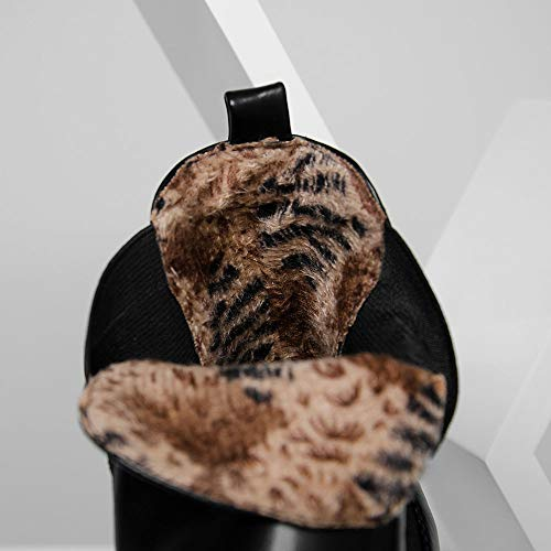 scarpe Caldi Black Vita Felpa La Per Brevi Da Punta Profonda In Moda Antiscivolo Basso Tacco Stivali A Invernali Con Bocca Donna Bassa Chelsea Rotonda qw6SgHI
