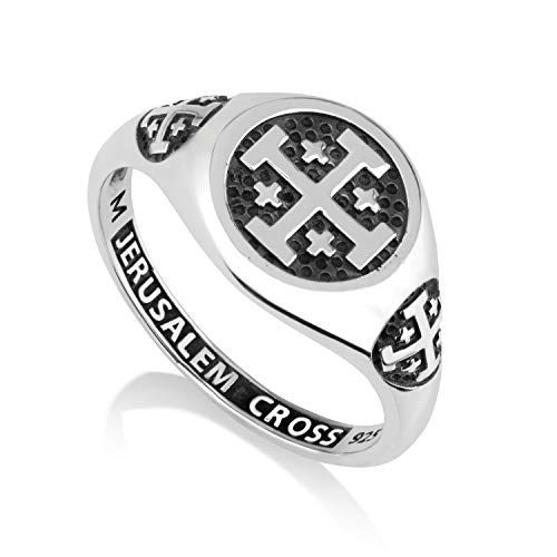 Marina Jewelry 925 Sterling Silver Signet Ring, Womens or Mens, Engraved Jerusalem Cross ()