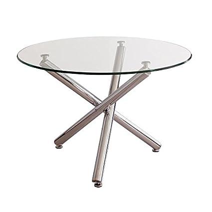 Mesa de comedor redonda BRISA sobre de cristal templado transparente ...