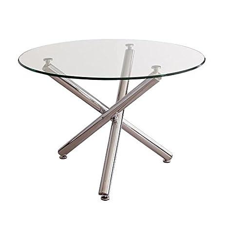Mesa de Comedor Redonda Brisa sobre de Cristal Templado Transparente y Base  de Metal Pulido Acabado Brillo (Cristal Bisel, 110x110 cm)