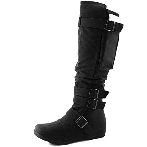 DailyShoes Women's Mid Calf Slouch Hidden Wedge Comfortable Slip On Round Toe Flat Heel Knee High Boots, (Mid Calf Wedge Boots)