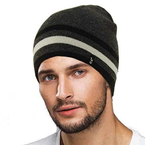 (Men's Reversible Winter Soft Knit Stretchy Warm Beanie Skull Ski Hat Cap Striped Dk. Gray)