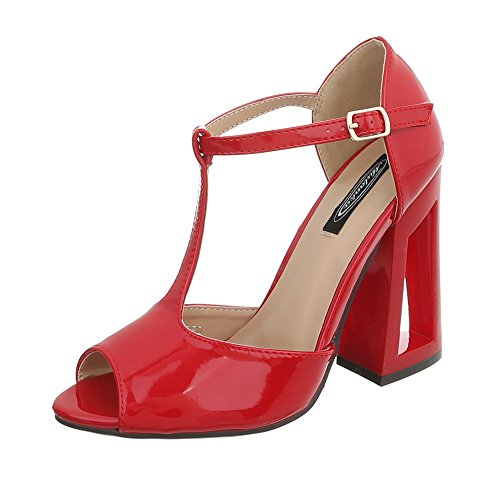 Ital-Design High Heel Sandaletten Damenschuhe Pump Heels Schnalle Sandalen & Rot C-27