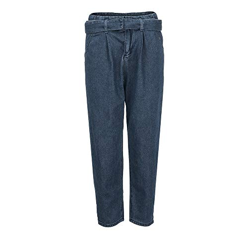 conqueror Femmes Bleu Pants Haute Jean Taille Lache Denim Trou Bow Bandage Stretch Jeans 44wBdHAqr
