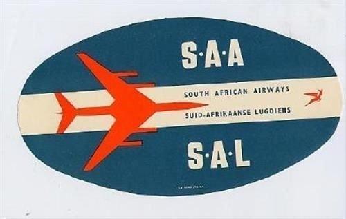 South African Airways Sticker Type 1 SAA SAL Jet