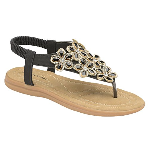 Sandale Dunlop Orné Entre Femmes Floral Jaden De Diamant Black doigt aqa1nTg
