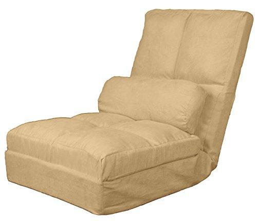 Cosmo Click Clack Convertible Futon Pillow-Top Flip Chair Sleeper Bed, 28 , Khaki