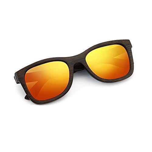 Oct17 Bamboo Wood Wooden Polarized Lens Sunglasses Real Eyewear Sunglass Men Women - ()