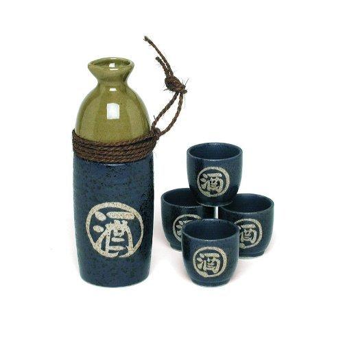 Japanese Blue & Green Nawamaki Sake Set